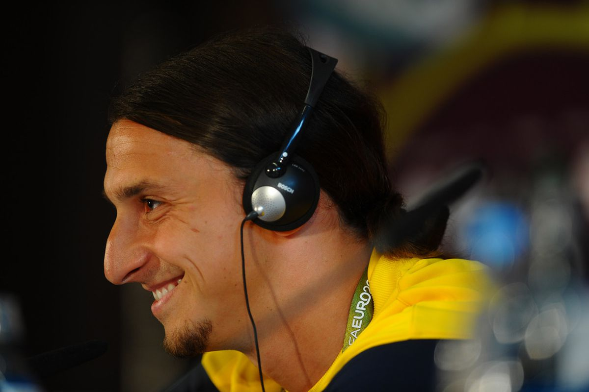 KIEV, UKRAINE - JUNE 10:  In this handout image provided by UEFA, Zlatan Ibrahimovic of Sweden speaks with the media during a UEFA EURO 2012 press conference on June 10, 2012 in Kiev, Ukraine.  (Photo by Handout/UEFA via Getty Images)