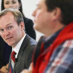 Rep. Ben McAdams looks down the line of panelists during a town hall on aging adult and senior issues at the Midvale Senior Center in Midvale on Friday, Oct. 4, 2019.