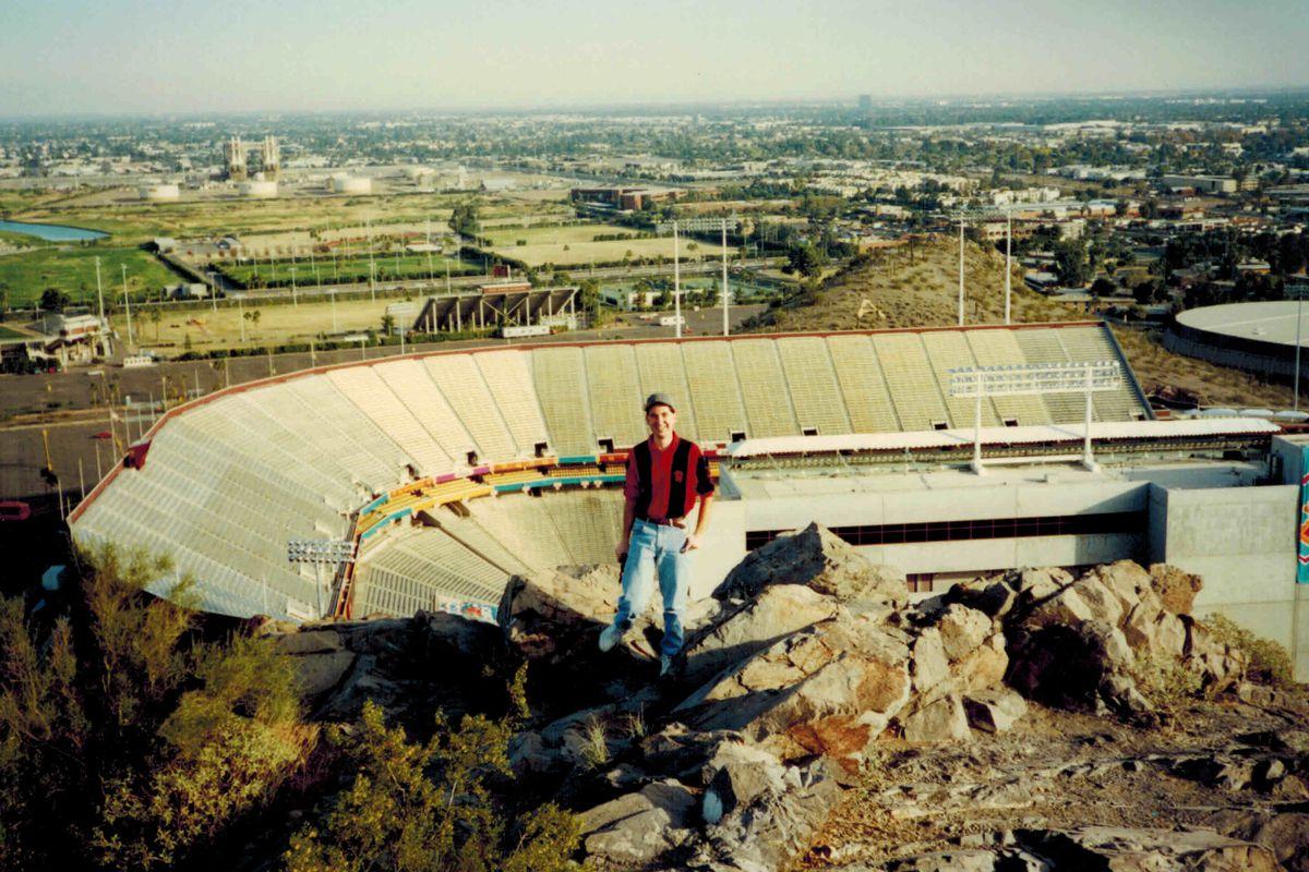 Husker Mike above Sun Devil stadium (New Year's Eve 1995)