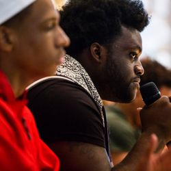 Chicago student Alex King at the March For Our Lives town hall meeting at The DuPage Unitarian Universalist Church, Naperville, June 16th, 2018. | James Foster/For the Sun-Times