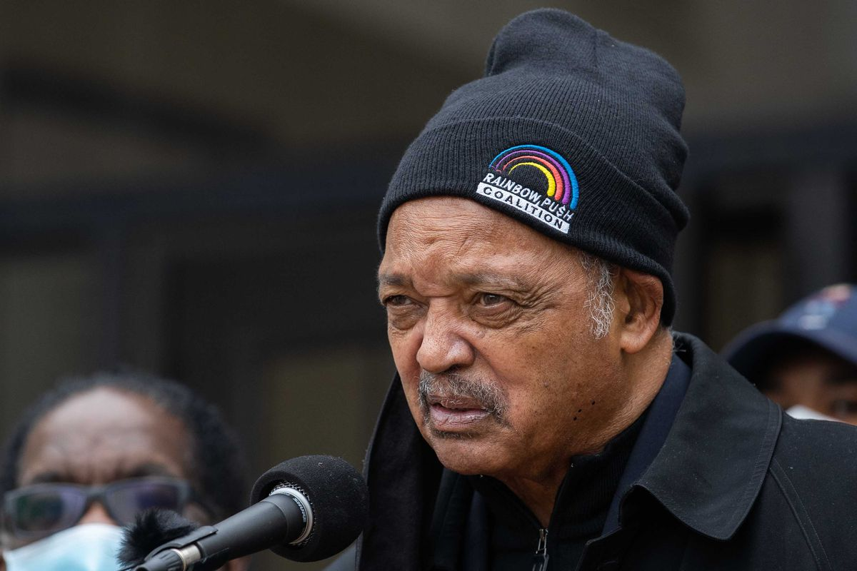 Rev. Jesse Jackson called for COVID-19 vaccinations for staff and detainees at Cook County Jail during a press conference outside the Cook County Department of Corrections Division 11 on Dec. 17, 2020.