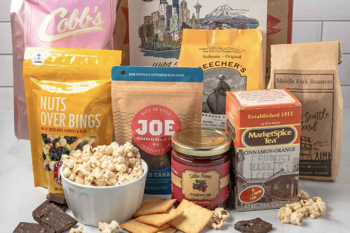 A collection of products from Pike Place vendors such as Market Spice, Joe Coffee, and Cobb's