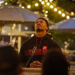 University of Utah football QB Ja'Quinden Jackson looks up as he speaks during a candlelight vigil remembering the life of slain student-athlete Aaron Lowe on Wednesday, Sept. 29, 2021 at University of Utah in Salt Lake City.