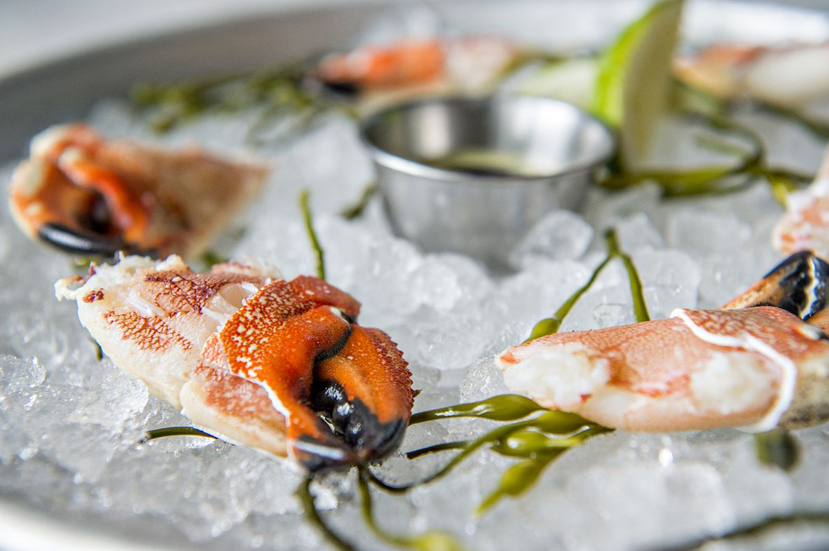 The Jonah crab claw cocktail is served with a creamy salsa verde at Lola Coastal Mexican.