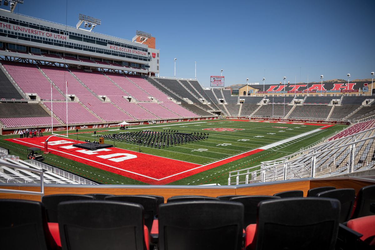 A suite in the new Ken Garff Red Zone overlooks the field at Rice-Eccles Stadium.