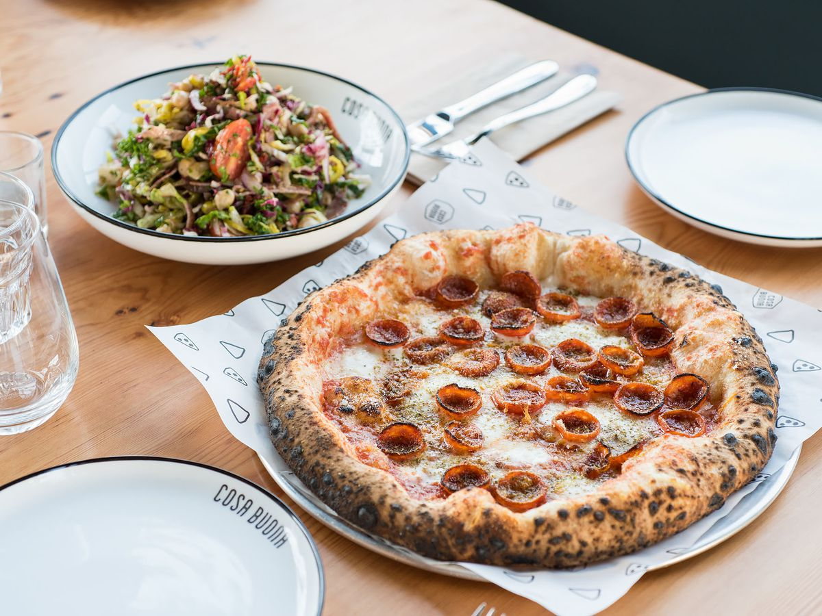 Pizza and salad at Cosa Buona in Echo Park