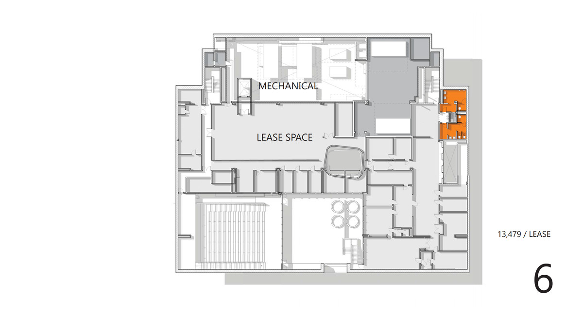 A blueprint of the redesigned 6th floor