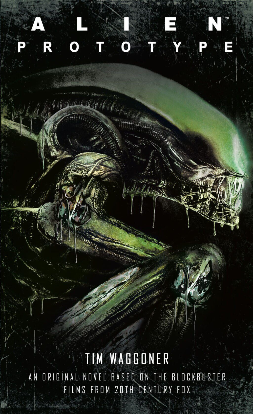 The cover of Tim Waggoner's book Alien: Prototype, with a side-on close-up of a Xenomorph