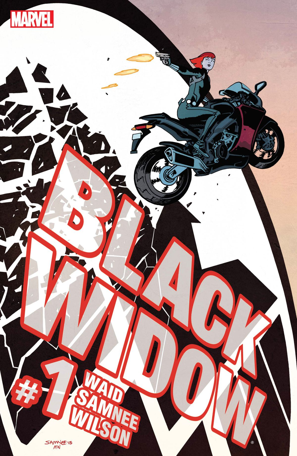 Black Widow/Natasha Romanoff fires a pistol as she leaps her a motorcycle through a glass window emblazoned with the SHIELD symbol on the cover of Black Widow #1 (2016).