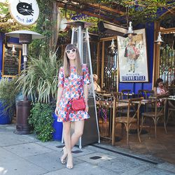 """Jenny of <a href=""""http://margoandme.com""""target=""""_blank"""">Margo and Me</a> is wearing a <a href=""""https://www.beckleyboutique.com/?designer=House%20of%20Holland-Floral%20Print%20Dress&cmd=item&sku=DRSCAS107743""""target=""""_blank"""">House of Holland</a> dress, <a h"""