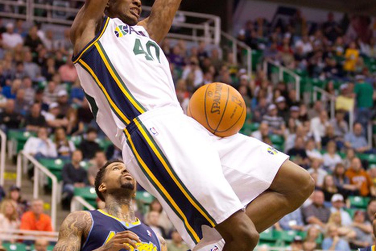 March 23, 2012; Salt Lake City, UT, USA; Utah Jazz small forward Jeremy Evans (40) practices minor league Rubioops in Utah before being signed by the Wolves. Mandatory Credit: Russ Isabella-US PRESSWIRE