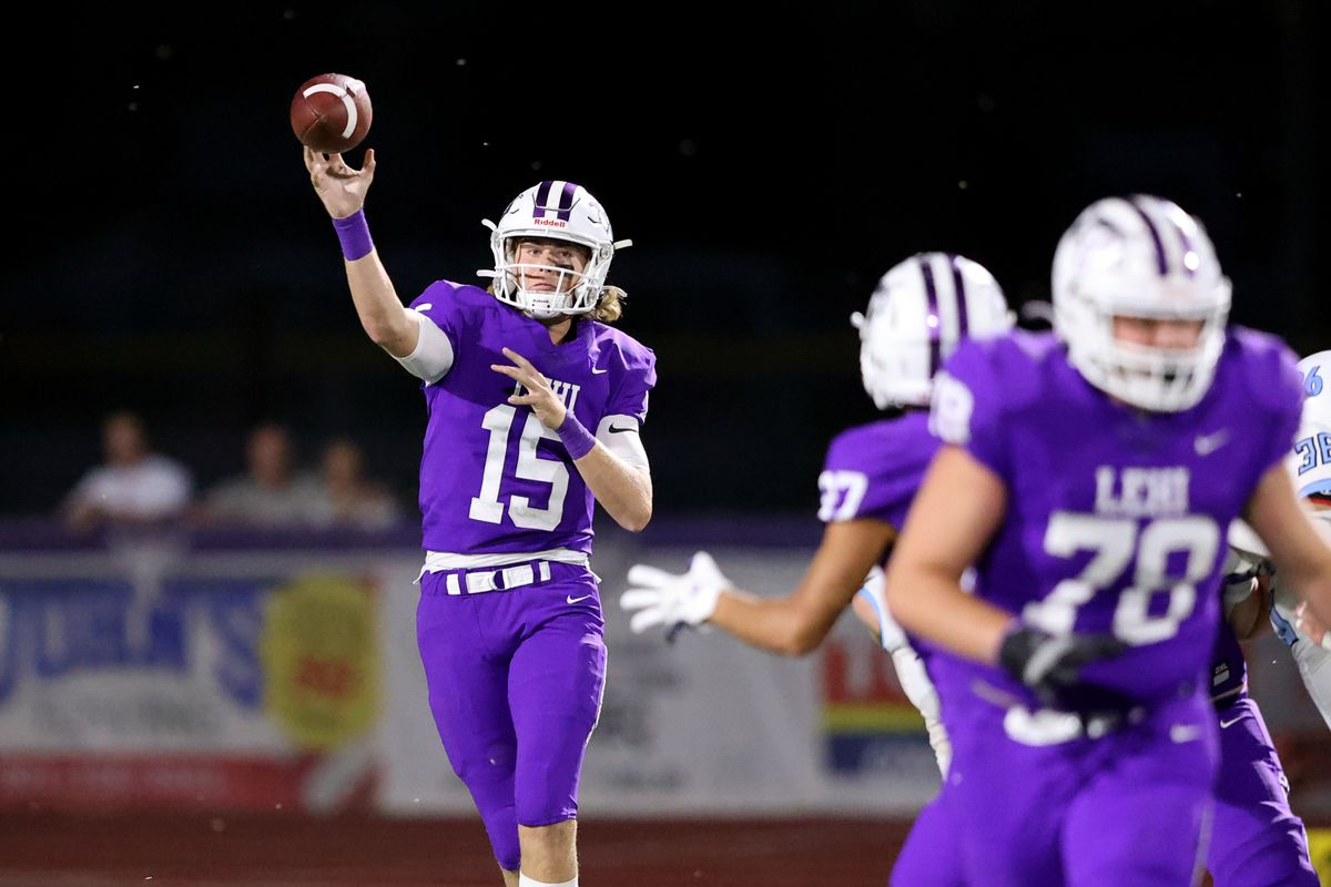 Lehi's Jackson Brousseau passes as the Pioneers and Salem Hills play a football game at Lehi on Friday, Aug. 20, 2021.