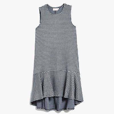 Navy gingham dress.