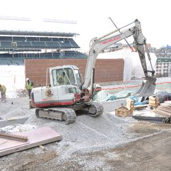 Gravel being delivered in front of Gate Q on Sheffield -