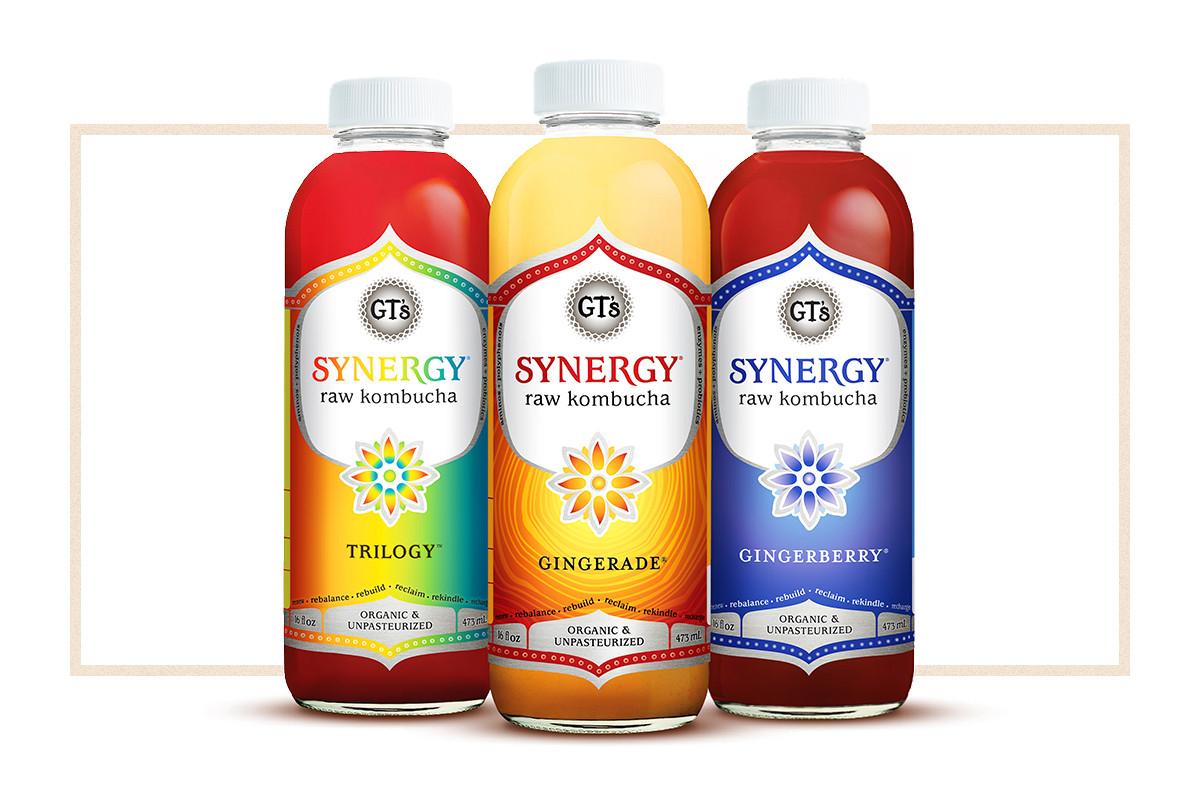 Bottles of various kombucha flavors from GT's Living Foods.