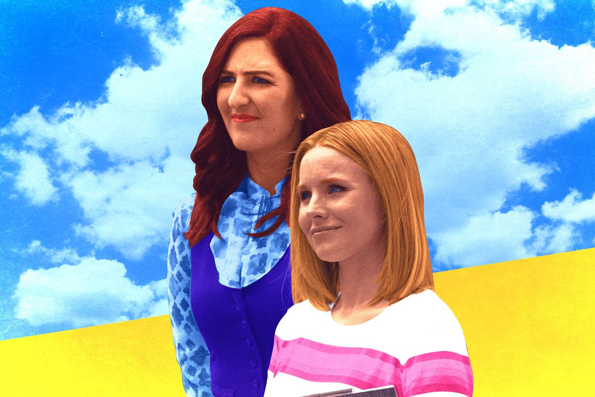 An illustration of D'Arcy Carden and Kristen Bell in 'The Good Place'