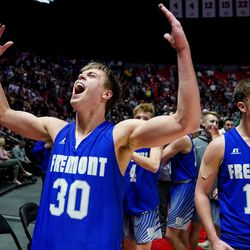 Fremont's Dallin Hall and Mitch Stratford celebrate their win over Davis in the 6A boys basketball championship game at the Huntsman Center in Salt Lake City on Saturday, Feb. 29, 2020.