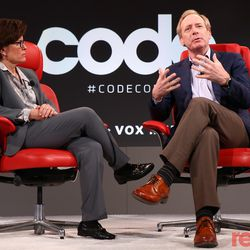 """Microsoft President Brad Smith shares what he learned from the company's 2001 antitrust case, and shares some advice he has for Facebook with Kara Swisher. Watch the full interview <a href=""""https://www.recode.net/2018/5/29/17377224/brad-smith-microsoft-facebook-code-conference-2018"""">here</a>."""