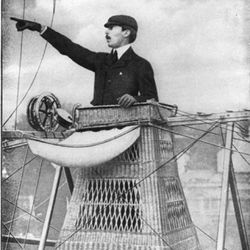Alberto Santos-Dumont, the inspiration for the Santos de Cartier watch, doing something daring.