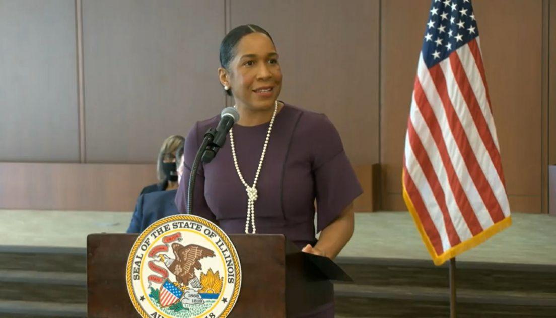 Lt. Gov. Juliana Stratton speaks at Tuesday's bill-signing ceremony in Springfield.