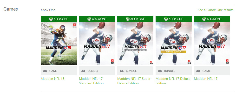 Madden NFL 17 - Xbox Games Store search 980