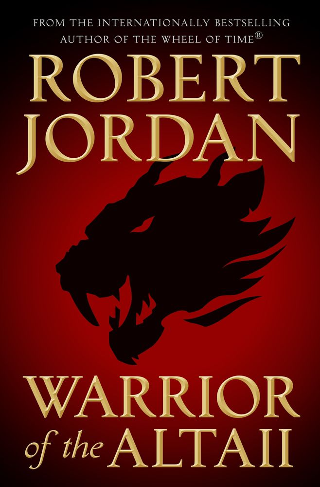 cover for Warrior of the Altaii; a crimson cover with the black head of a wild cat; the text is large and gold