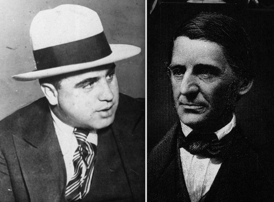 Al Capone, left, and Ralph Waldo Emerson, right. File Photos.