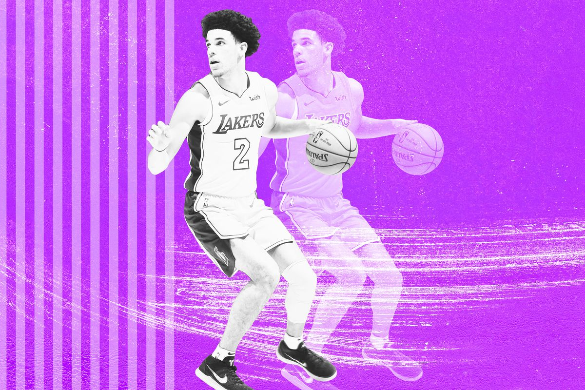 Lakers point guard Lonzo Ball dribbles the ball