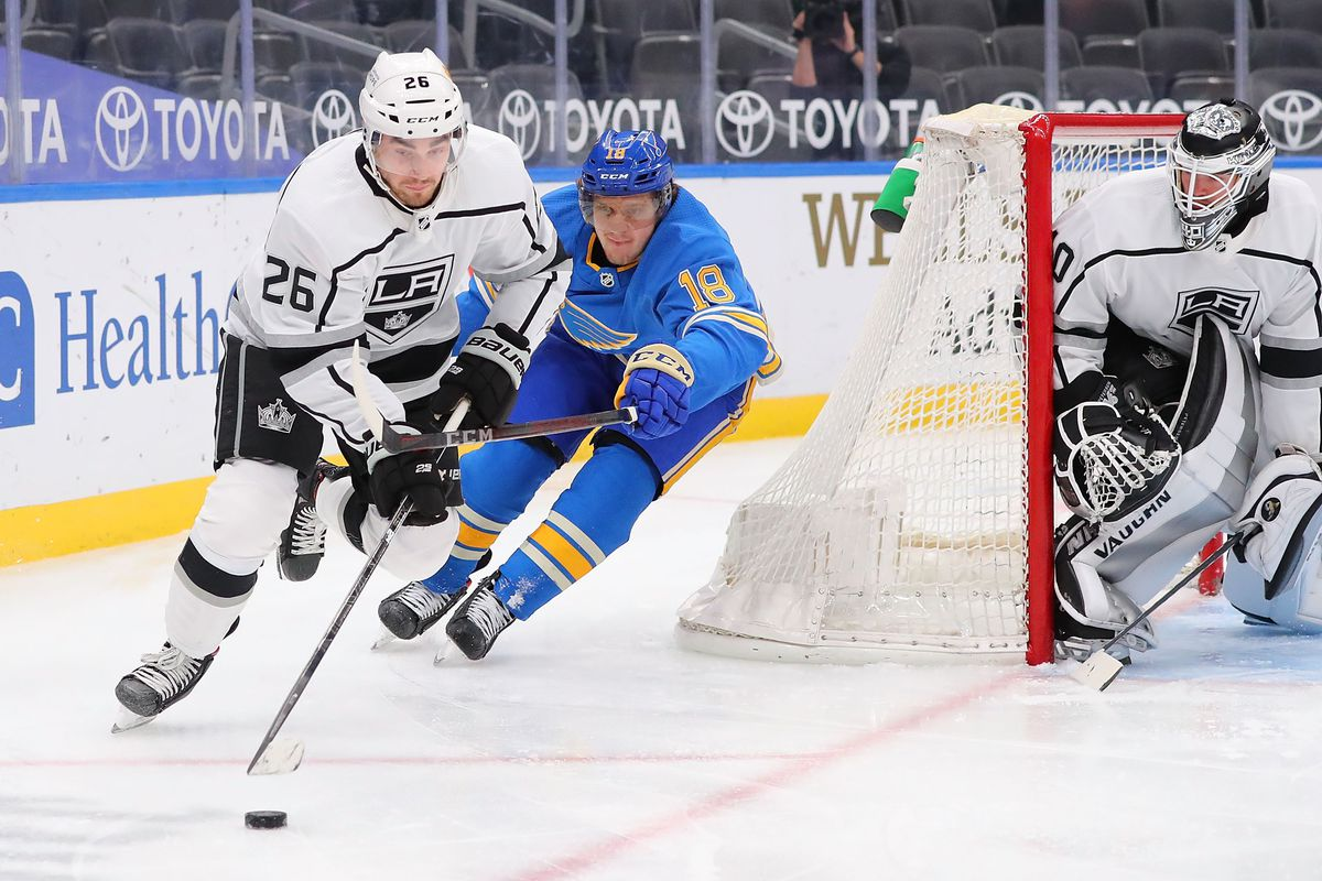 Sean Walker #26 of the Los Angeles Kings controls the puck against Robert Thomas #18 of the St. Louis Blues in the third period at Enterprise Center on January 23, 2021 in St Louis, Missouri.