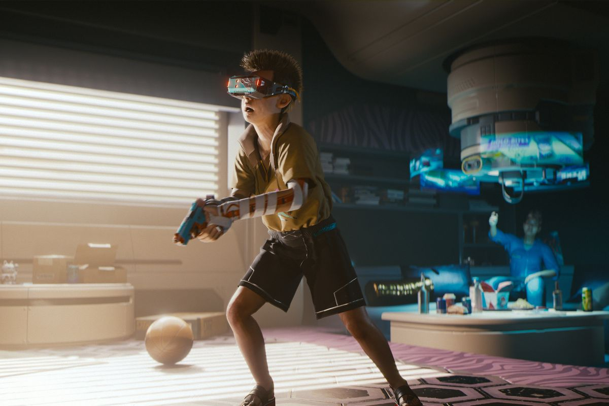 A child wearing a braindance headset, literally living the experience of someone else's thoughts. Concept art for Cyberpunk 2077.