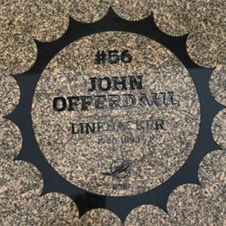 John Offerdahl granite stone in the Miami Dolphins Walk of Fame after being unveiled on December 2, 2018 in a ceremony in the Joe Robbie Alumni Plaza at Hard Rock Stadium, Miami Gardens, Florida.