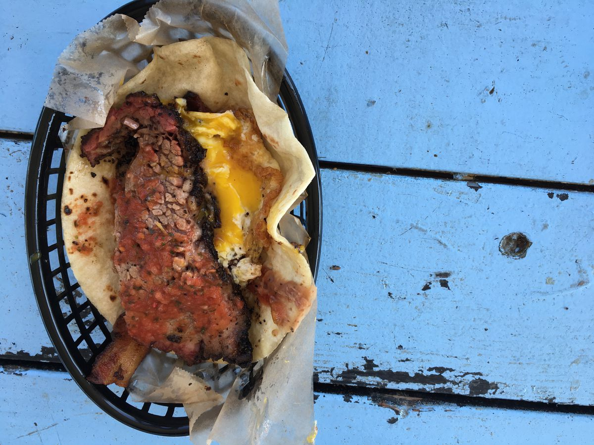 The Real Deal Holyfield taco with a slice of smoked brisket from Valentine's Tex Mex BBQ