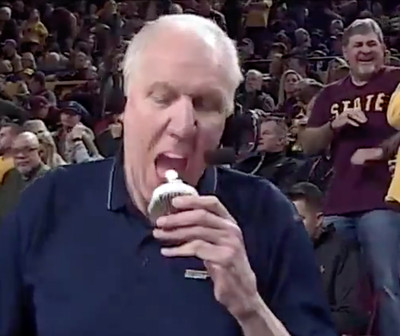Screen Shot 2019 02 09 at 9.10.37 PM - Bill Walton really ate a lit candle on top of a cupcake during a broadcast