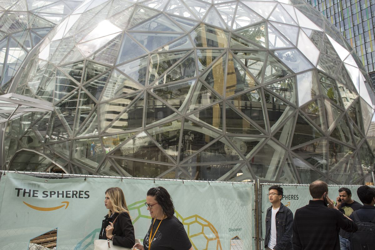 The signature glass spheres under construction at the Amazon corporate headquarters in Seattle, Wash.