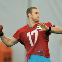 Jul 24, 2013; Davie, FL, USA; Miami Dolphins quarterback Ryan Tannehill (17) throws a pass during practice drills at the training camp at the Doctors Hospital Training Facility at Nova Southeastern University.