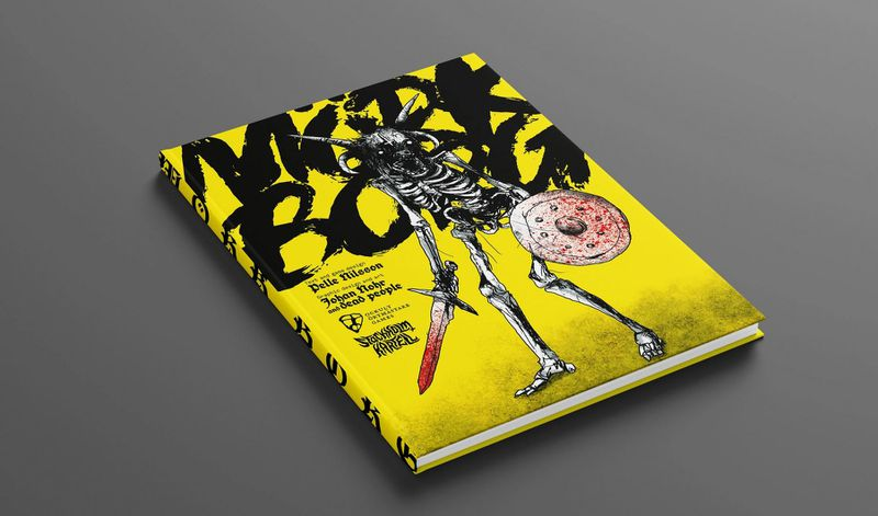 A skeleton, rendered in black ink, on a yellow background.