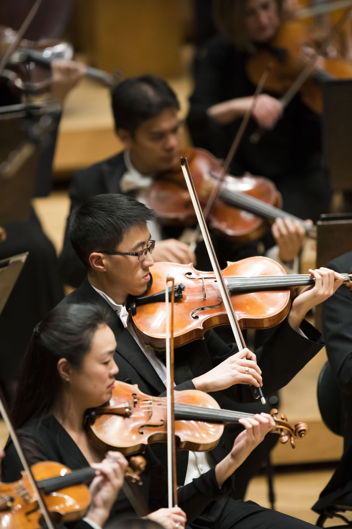 Image 533 was captured during a performance at Orchestra Hall. R. to L. CSO Viola Danny Lai, CSO Violin Sylvia Kilcullen.