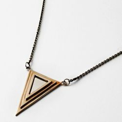Two-toned Pyramid pendant in bronze and sterling.
