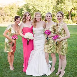 """""""Here I am with my girls. I loved the combination of the the gold and bright pink. How gorgeous is everyone?! My sister and girlfriends mean so much to me, it was great to see them looking so fabulous."""""""