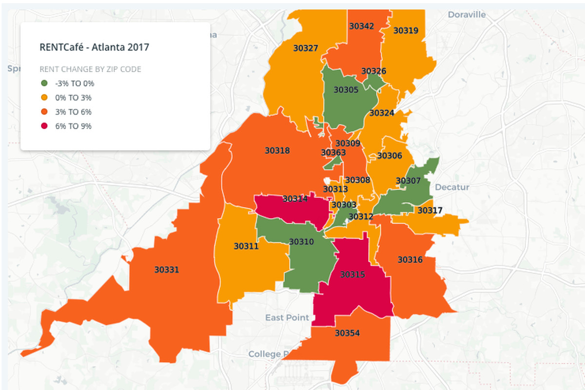 Analysis Rents Actually Decreased In Several Hot Atlanta