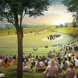 This undated artist's rendering provided by Diller Scofidio Renfro & Hood Design shows a proposed design for the National Washington Monument grounds at Sylvan Theater, one of three overused and neglected areas of the National Mall in Washington, which architects and designers have been competing for the chance to renew.