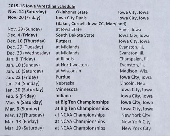 Iowa 2015-16 schedule