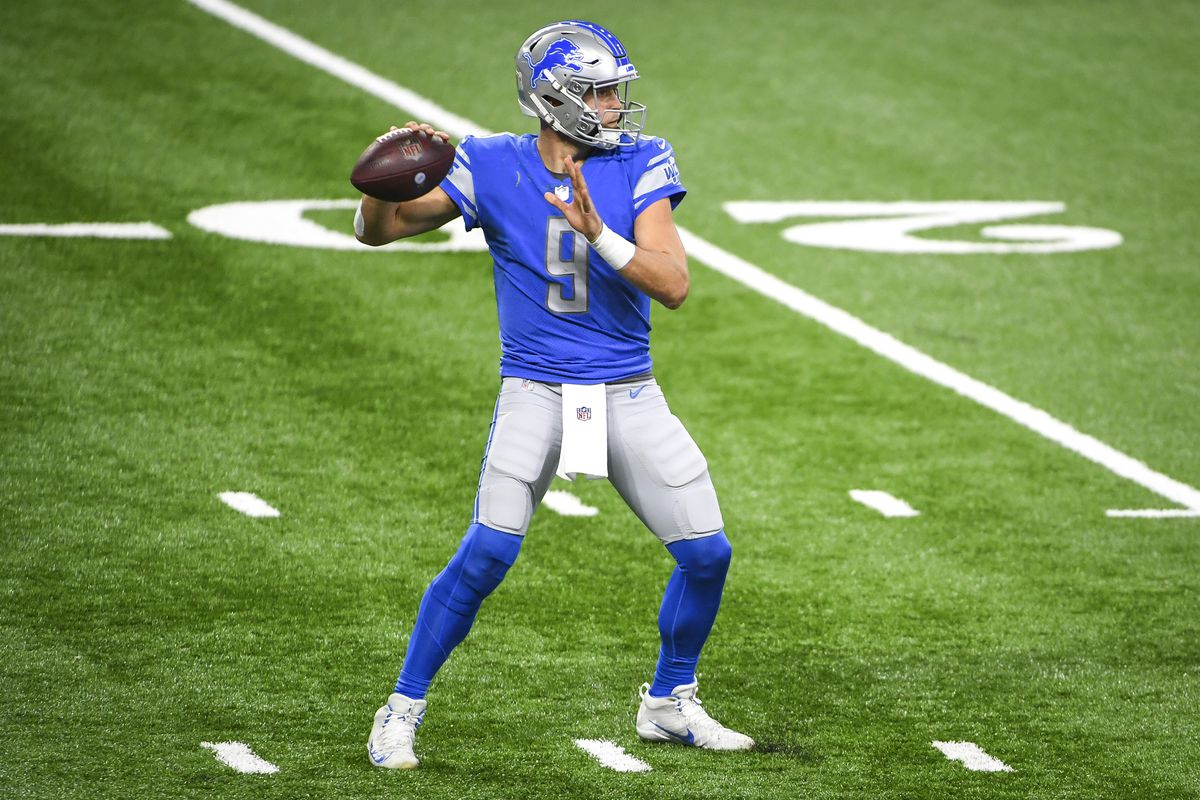 Matthew Stafford #9 of the Detroit Lions throws the ball against the Washington Football Team during the fourth quarter at Ford Field on November 15, 2020 in Detroit, Michigan.