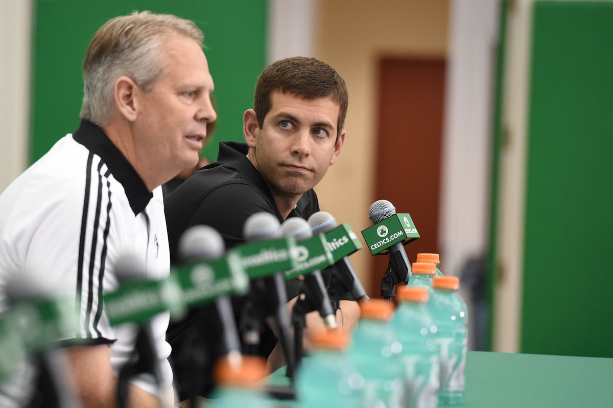 Danny Ainge and Brad Stevens of the Boston Celtics introduce the Celtics 2016 NBA Draft class during a press conference on June 24, 2016 at TD Garden in Boston, Massachusetts.