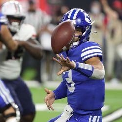 Brigham Young Cougars quarterback Jaren Hall (3) pitches the ball during the Vegas Kickoff Classic in Las Vegas on Saturday, Sept. 4, 2021. BYU won 24-16.