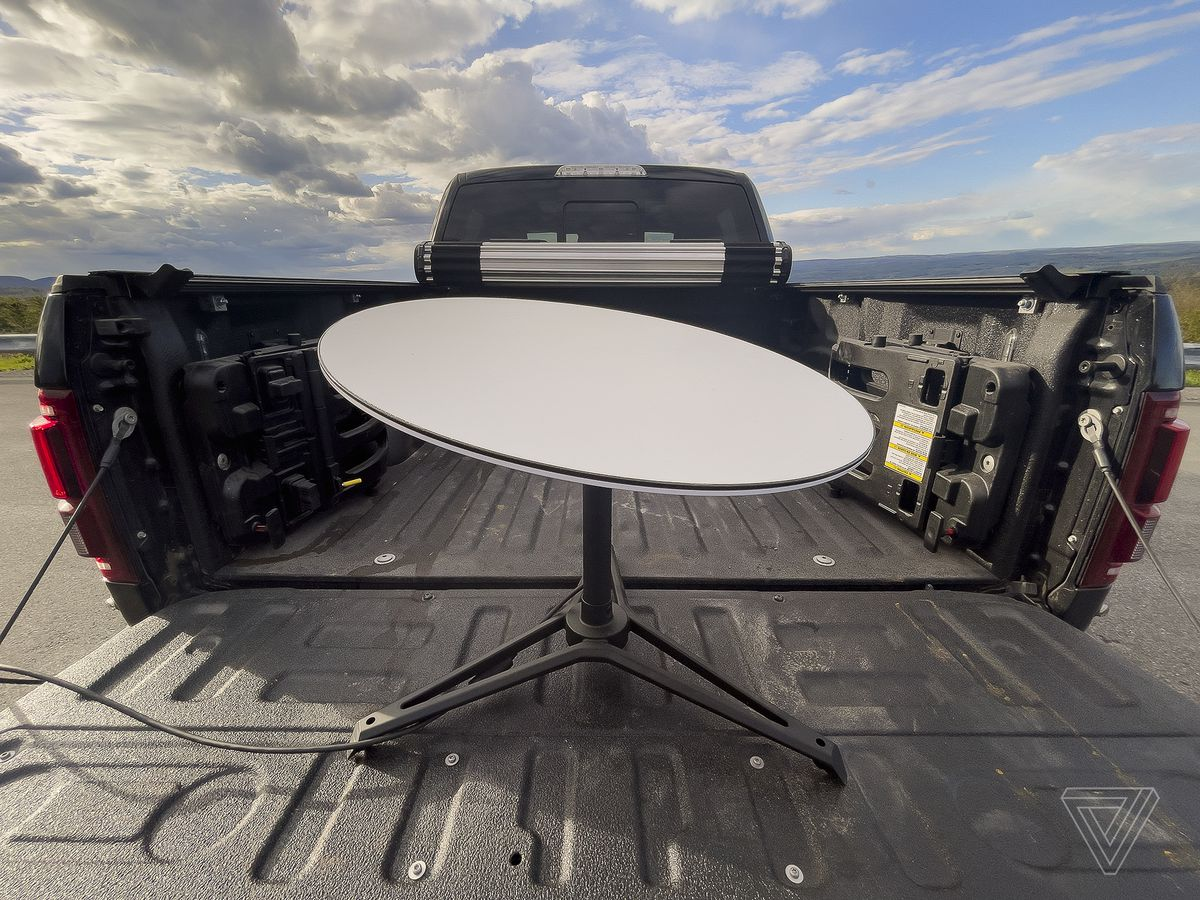 Starlink dish in the back of a truck