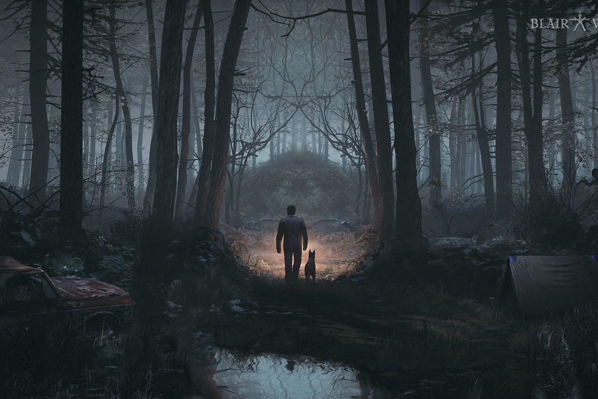 Blair Witch - The game's key art, which depicts a man and a dog walking through the woods. Their path is lit with a flashlight.
