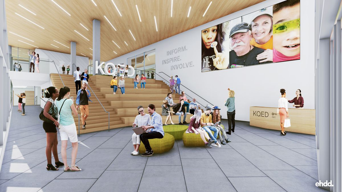 Illustration of lobby space with soaring ceilings, wooden amphitheater-like seating with KQED logo, and wood ceilings.