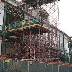 Another closer view of the scaffolding, along Addison Street