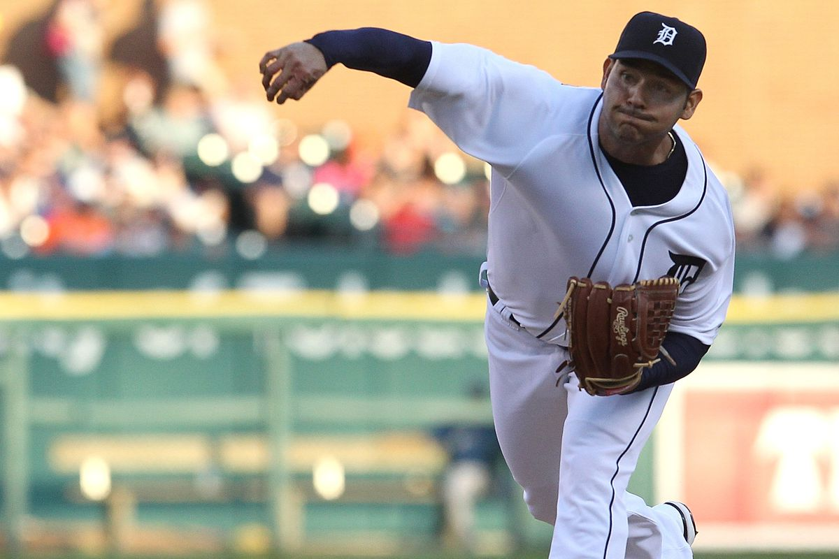 DETROIT, MI - AUGUST 22: Starting pitcher Anibal Sanchez #19 of the Detroit Tigerswinds up and throws  during a MLB game against the Toronto Blue Jays at Comerica Park on August 22, 2012 in Detroit, Michigan.  (Photo by Dave Reginek/Getty Images)